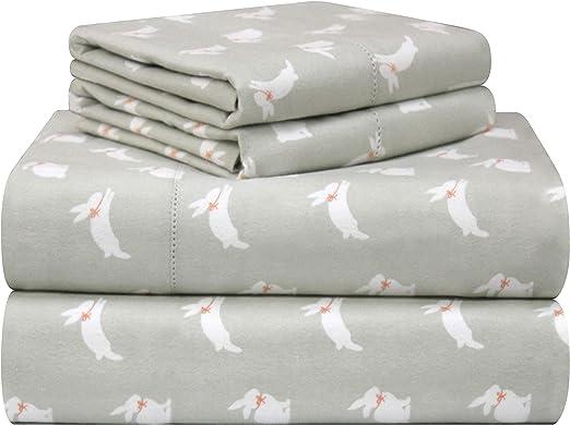 Amazon Com Pointehaven 180 Gsm Velvet Feel Luxury Cotton Printed Flannel Sheet Set Twin Bunnies Home Kitchen