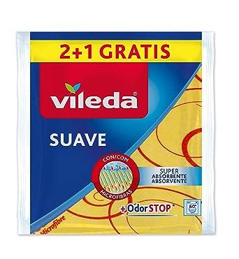 Vileda - Set de 2 Bayetas suaves 30% microfibras + 1 gratis, color amarillo