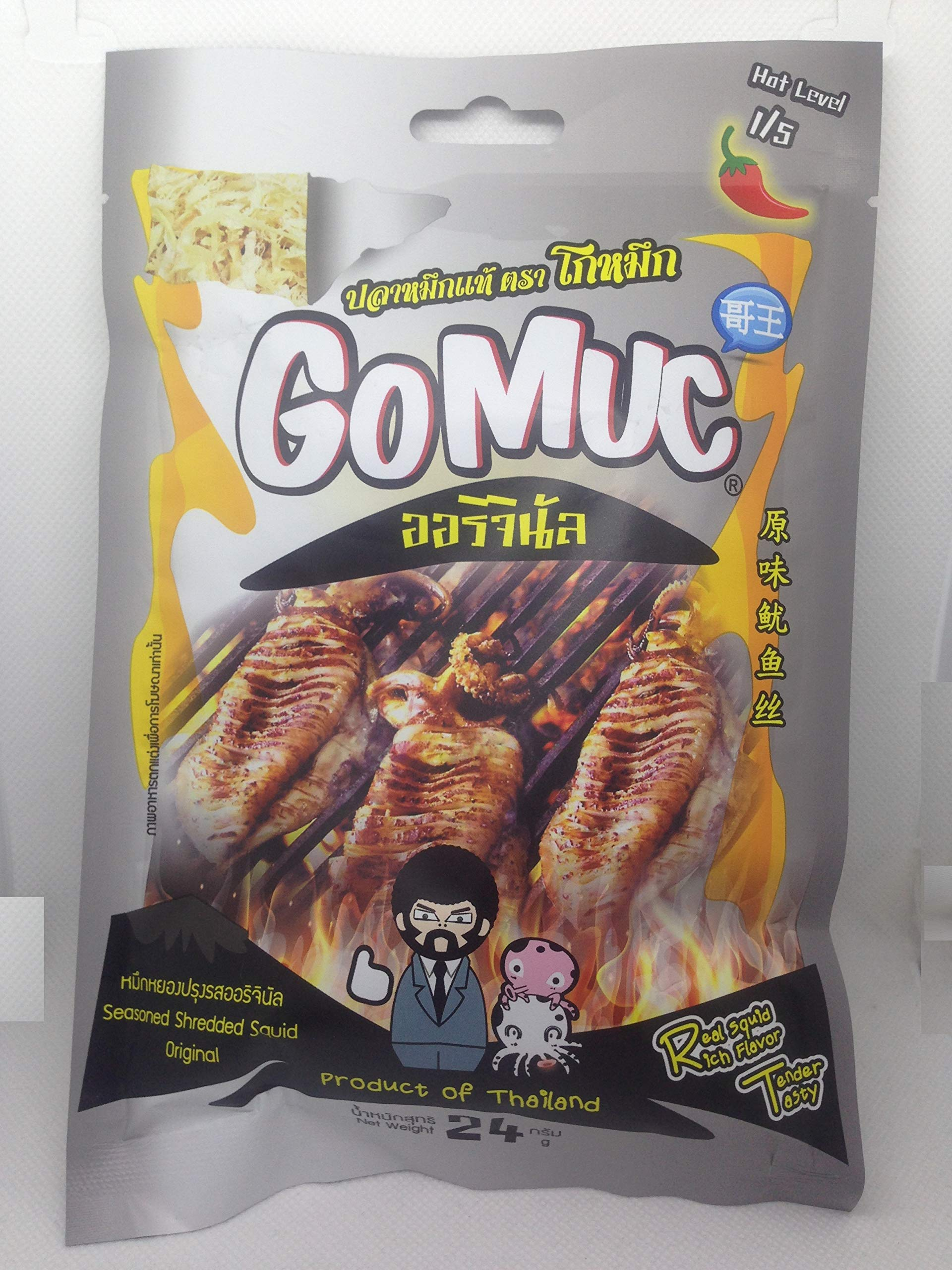 GOMUC Brand, Seasoned Shredded Squid, Original Flavour 24g X 4 Packs by Gomuc