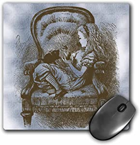3dRose 8 X 8 X 0.25 Alice In Chair With Cat Alice In Wonderland Vintage Mouse Pad (mp_110206_1)