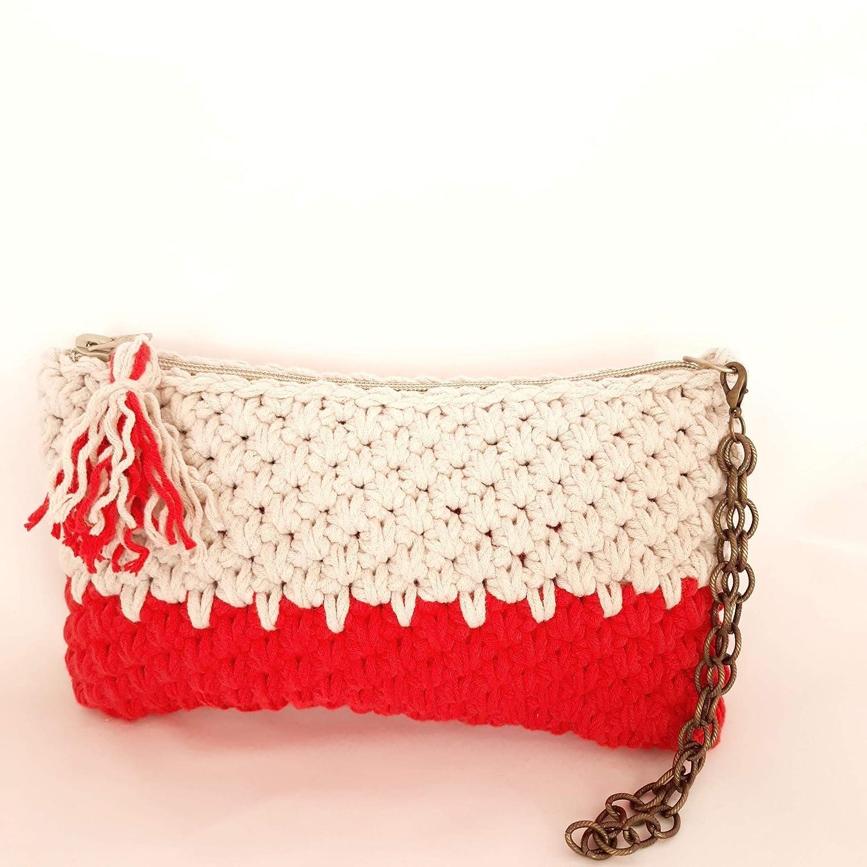 Bolso de mano BEIGE-ROJO. Tejido a mano. Crochet. Punto canasta ...
