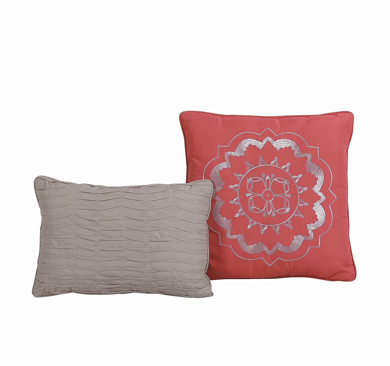 Queen Coral Geneva Home Fashion DEA5QTQUENGHCO Avondale Manor Della 5-Piece Quilt Set