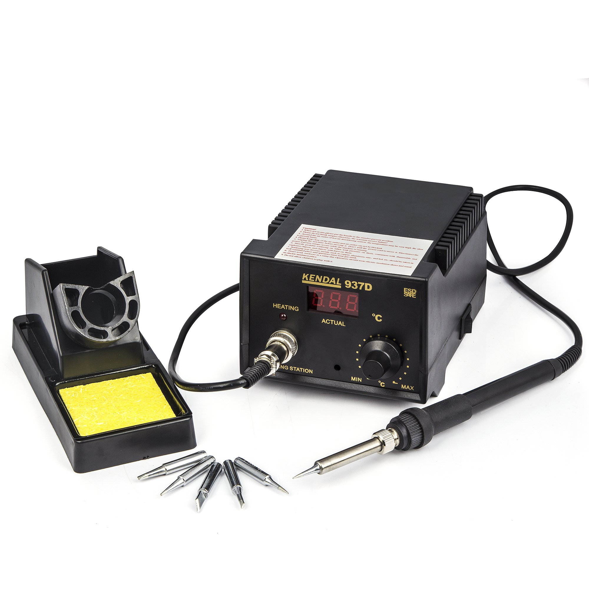 Soldering Iron Station with Extra Heating Element & 5 Tips 937D