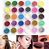 Neverland Lot de 30 couleurs Mélangées Maquillage Professionnel Glitter Eyeshadow Mineral Yeux Eyeshadow Pigments Poudre