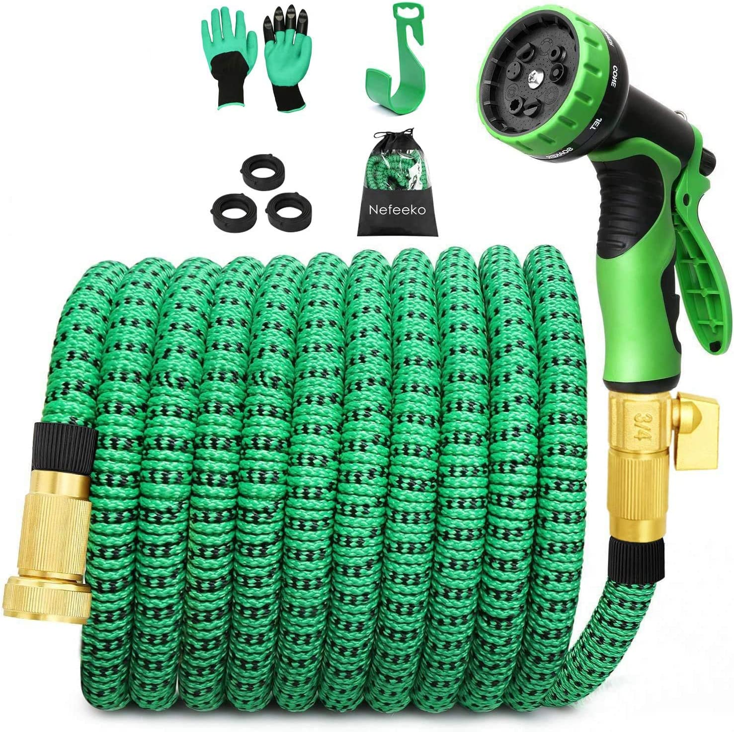 Nefeeko Garden Hose Expandable,50ft Leakproof Lightweight Retractable Water Hose with Solid Brass Fittings,Extra Strength 3750D Durable Gardening Flexible Hose Pipe(Green+Black)