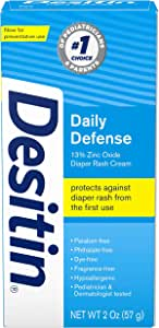 Desitin Daily Defense Baby Diaper Rash Cream with 13% Zinc Oxide Barrier Cream, No Flavour, 2 Ounce