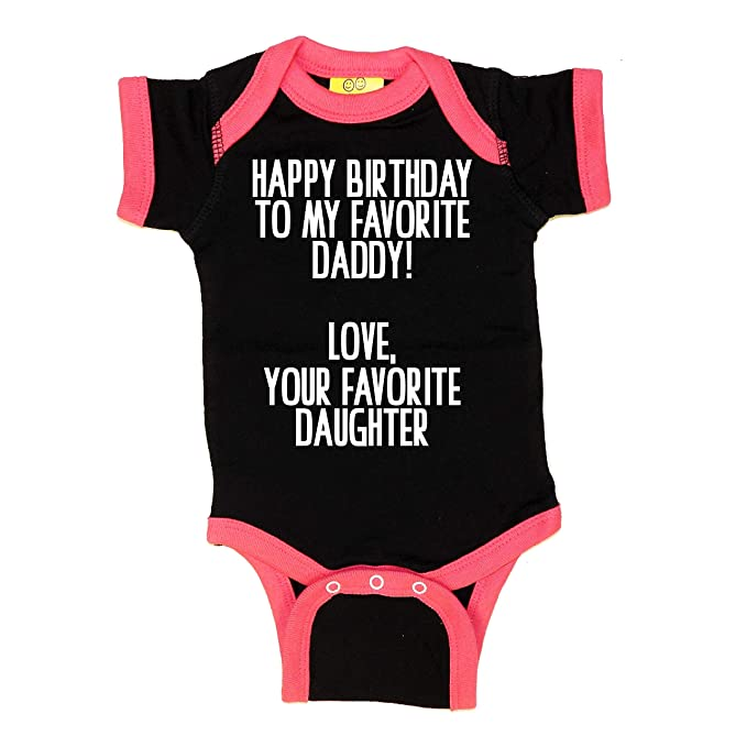 2a386def8 Amazon.com: Sticky Bananas Baby-Girl Happy Birthday to My Favorite Daddy  Love Your Favorite Daughter Baby Bodysuit Black/Hot Pink: Clothing