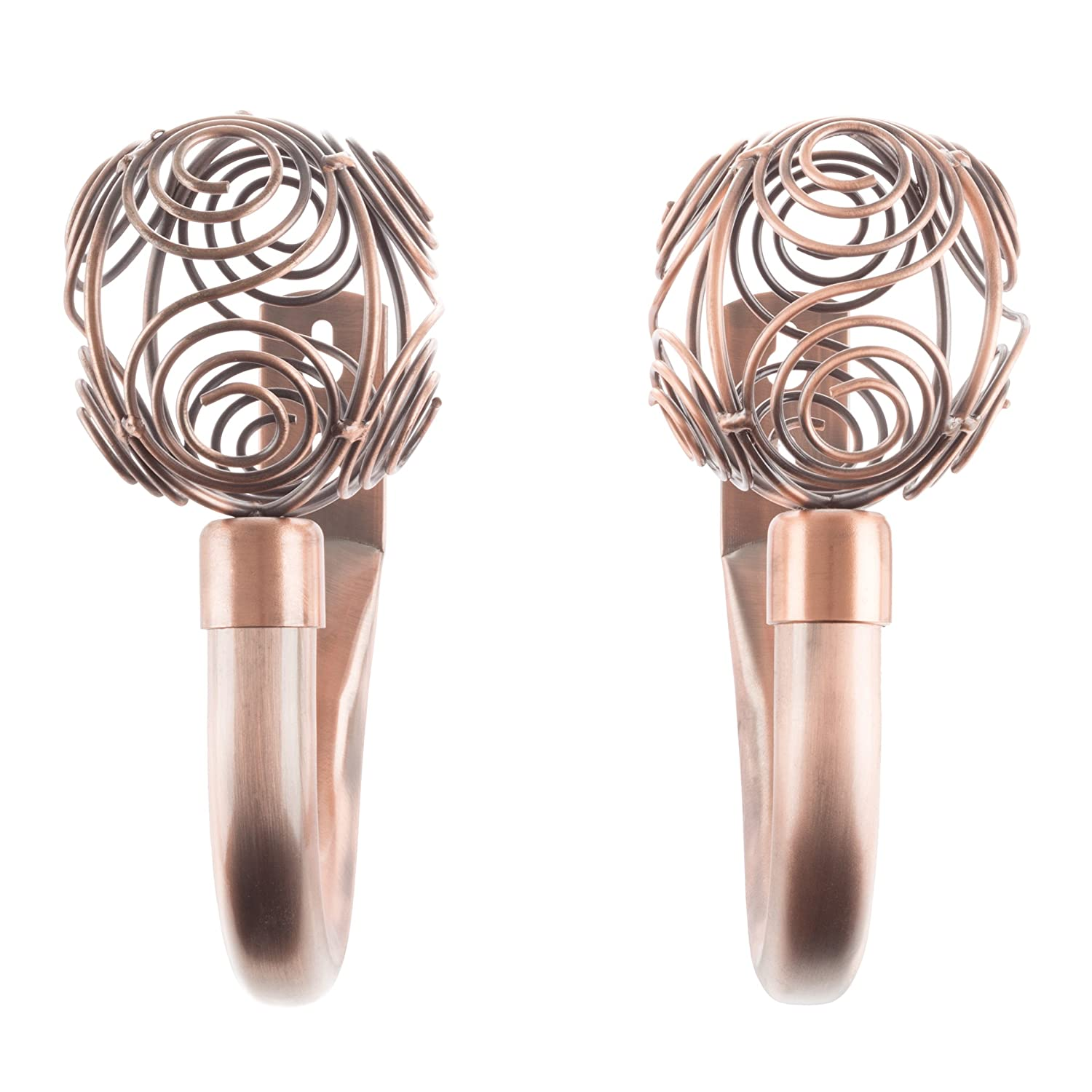 Lavish Home 63-17011A-C Curtain Holdback Set with Circle Finial, Copper