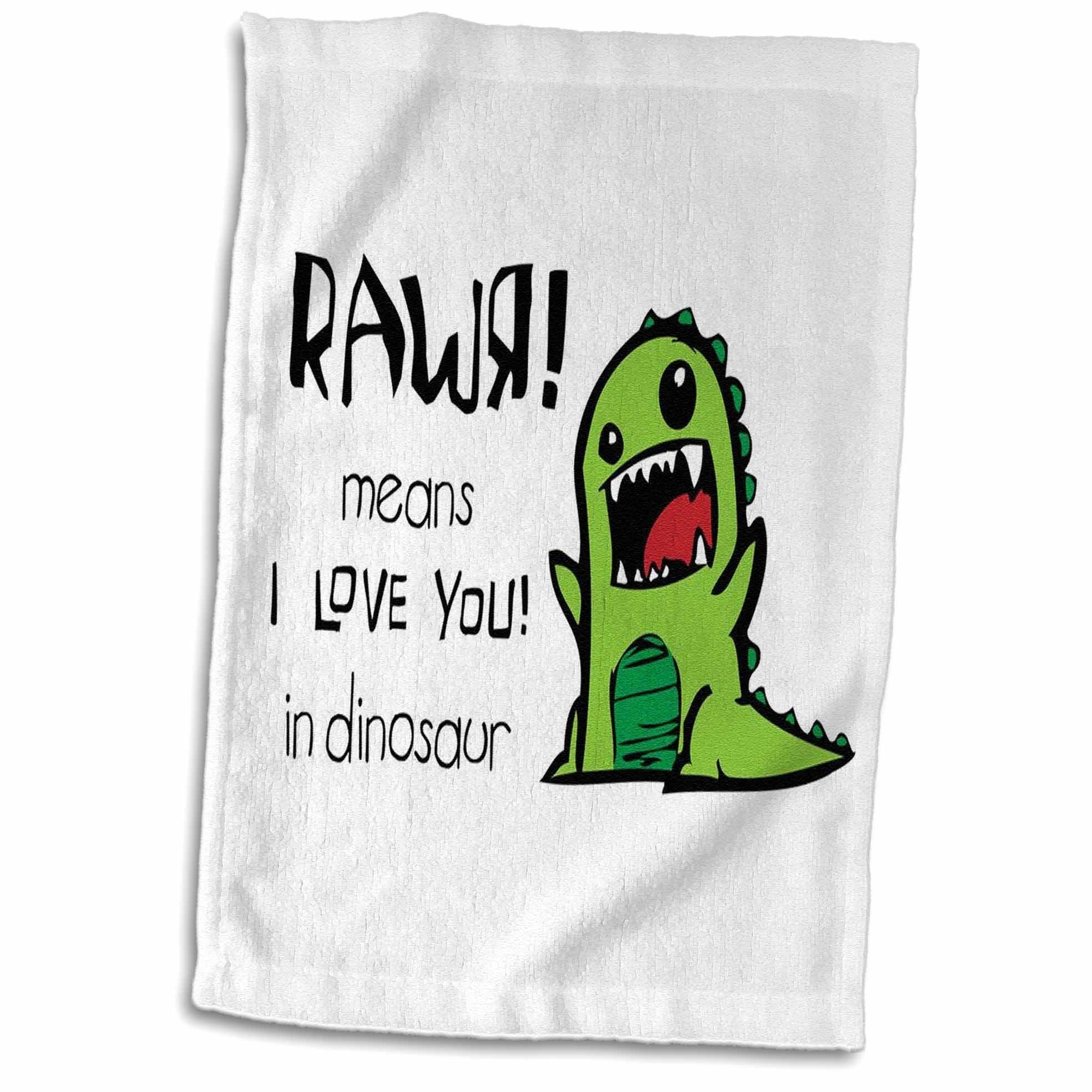 3D Rose Rawr Means I Love You in Dinosaur Towel, 15'' x 22'', Multicolor by 3dRose (Image #1)