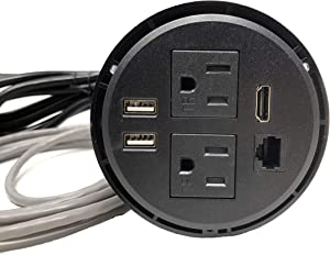 Power Grommet W/ 2 USB Charging Ports, Desktop Outlet W/ 2 AC Outlets, 1 HDMI, 1 Data CAT 6, Power Socket W 6 ft Heavy Duty Extension Cord (DC_8689_Black_Round)