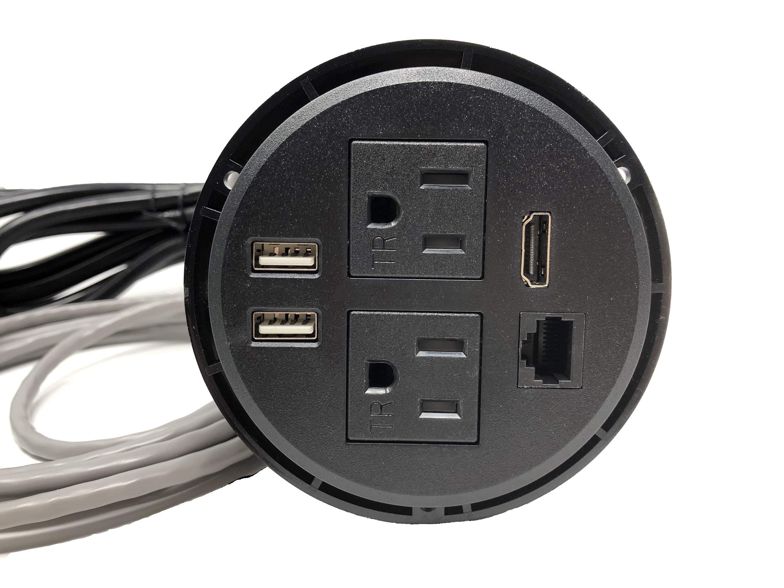 Round Desktop Conference Room Power Grommet Outlet, FITS 3 1/8'' - 3 1/4'' 2 (TR) AC Outlets, 2 USB Charging Ports, 1 CAT 6, 1 HDMI, ETL Listed (DC-8689-Black)