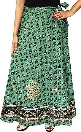 Cotton Wrap Around Larga Para Mujer Falda Maxi India Ropa (Verde ...