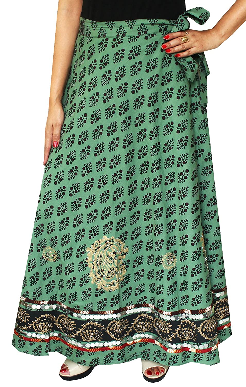 Cotton Wrap Around Larga Para Mujer Falda Maxi India Ropa (Verde ...