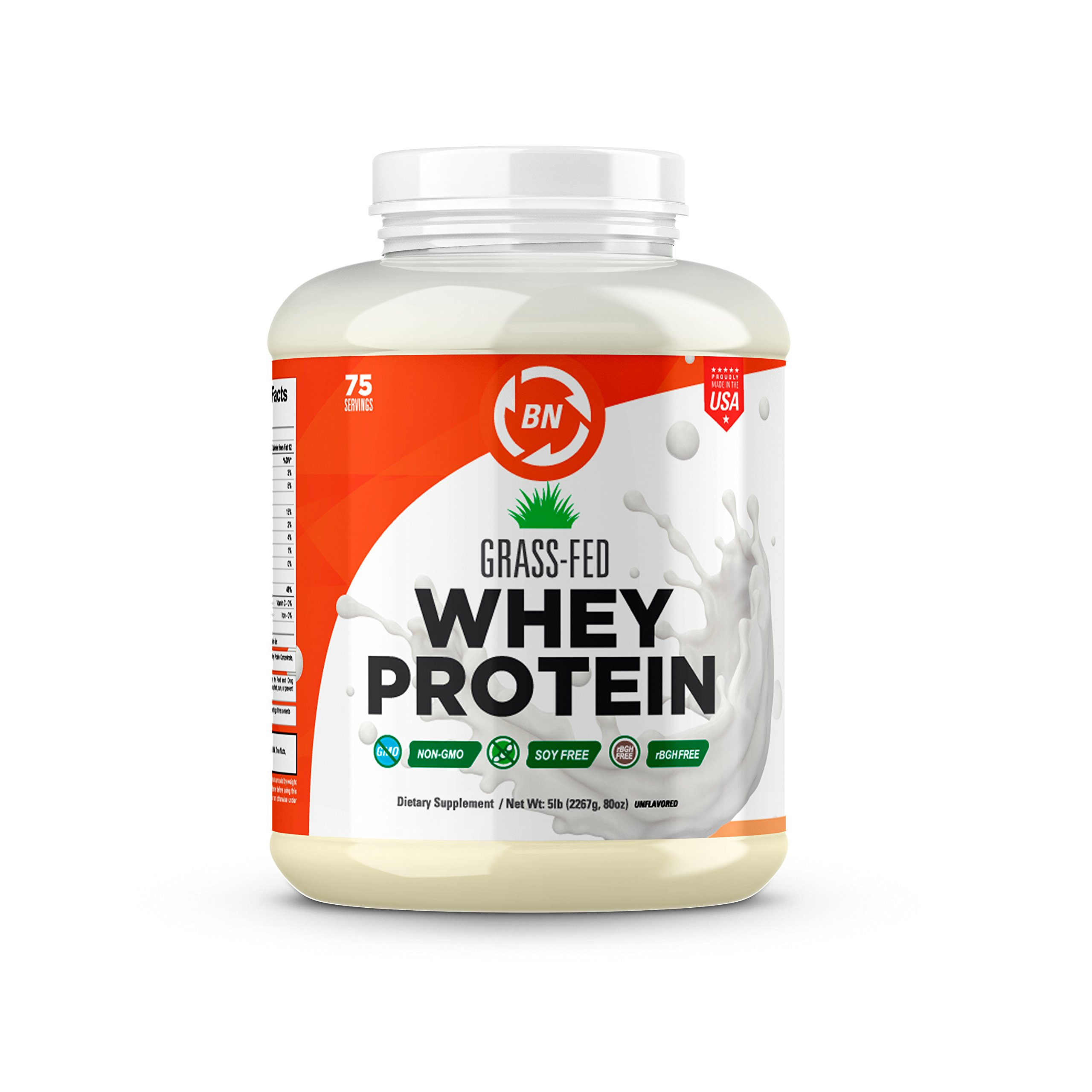 Grass Fed Whey Protein - 100% Pure, Natural & Raw - 24g High Protein - 5lb/75 Servings - Cold Processed Undenatured - Non-GMO - rBGH-Free - High Quality Wisconsin USA (5 lbs)