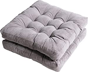 "Tiita Outdoor Chair Cushions 22"" x 22"" Square Seat Pillows Set of 2 Throw Floor Pads for Patio Garden Furniture Chairs Office Livinh Room, Grey"