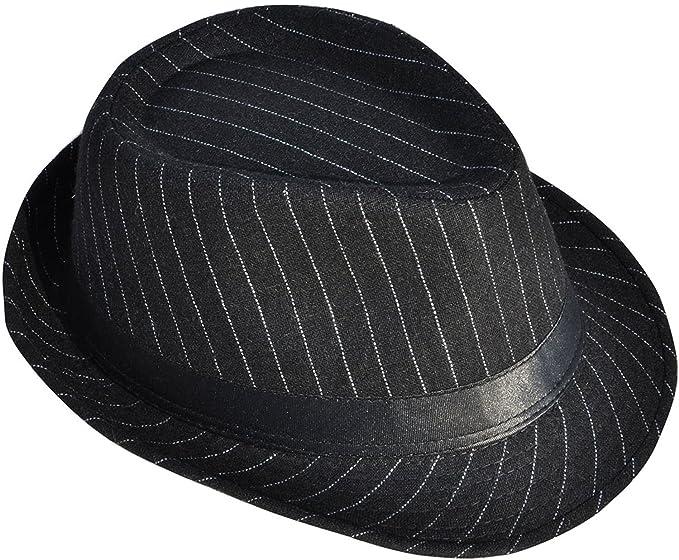 Amazon.com  Men   Women s Pin Striped Short Brim Manhattan Trilby ... ae7e2ed1770
