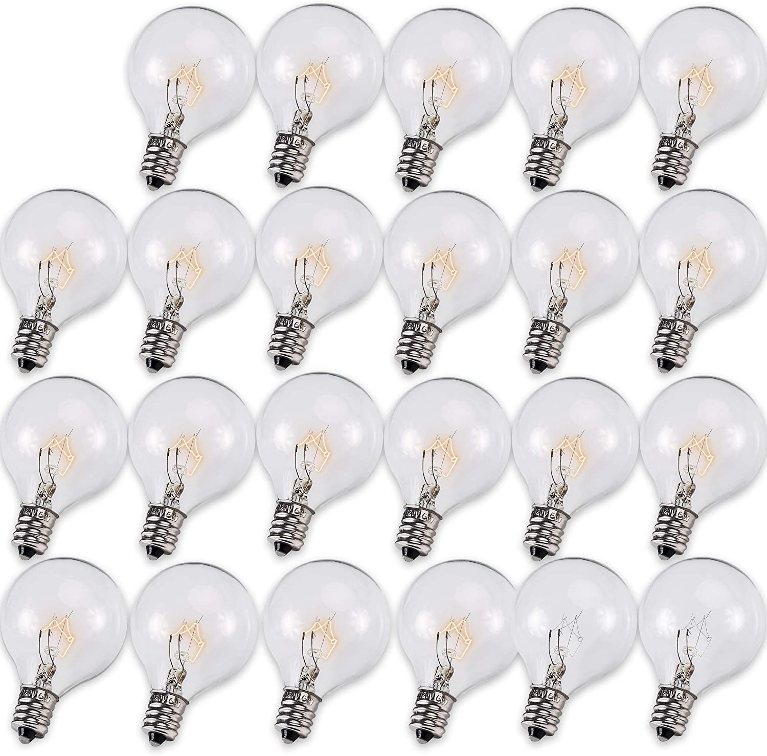E12 G40 Bulb 120V 5W Pack of 25 Replacement Bulb by BlueStars - High Output Warm White Light 2500K 25 lm for String Lights Screw Base Outdoor/Indoor