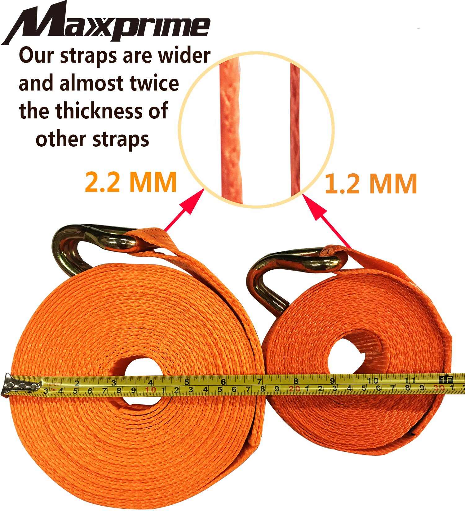 """Premium Ratchet Tie Down, Maxxprime 33' x 2"""" 10, 000 lbs Rated Capacity Tie-Down Ratcheting Cargo Truck Straps with Double J-Hooks - German Quality by MAXXPRIME (Image #2)"""