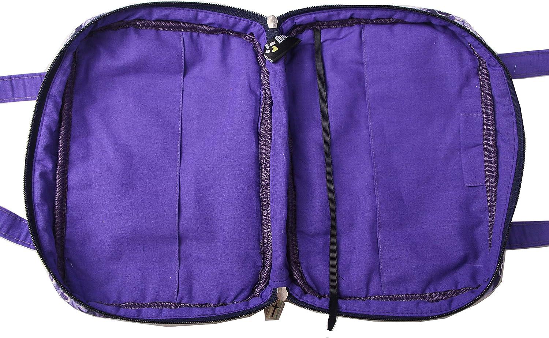 1901B Blue Plus Purple, L DIWI 10 X 7 X 2.75 Inches Large Sizes Bible Cover Bible Tote Bible Purse Quilted Cotton Zipper Closer Pen Holder Inside