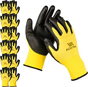 ACKTRA Ultra-Thin Polyurethane (PU) Coated Nylon Safety WORK GLOVES 12 Pairs, Knit Wrist Cuff, for Precision Work, for Men & Women, WG002 Yellow Polyester, Black Polyurethane, Large