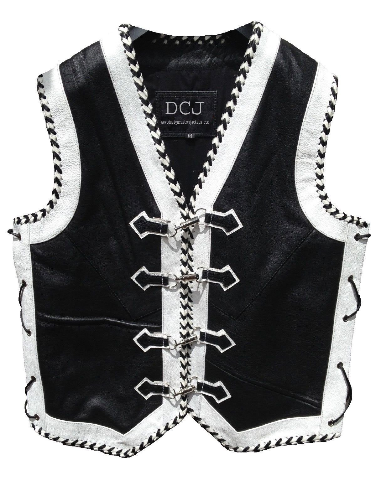 Leather Motorcycle Vest Custom Motorbike Biker Rider Waistcoat Hand Braided (XXL)