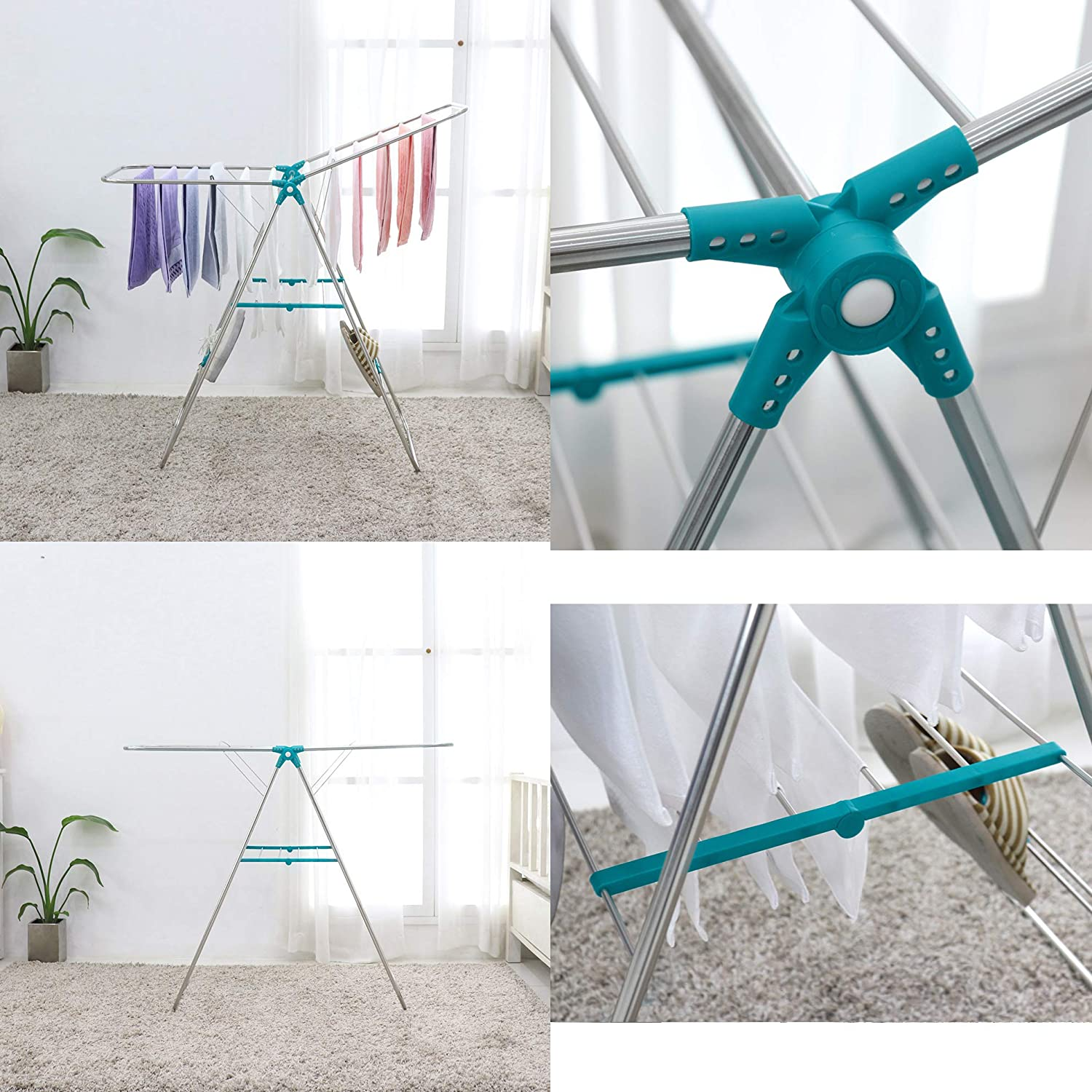 10EA Foldable//Easy Storage Laundry for Indoor and Outdoor Use Pastel AJ12 Stainless Steel Clothes Drying Rack Made in Korea Gullwing Space-Saving Laundry Rack with Shoes Hanger Clothespins