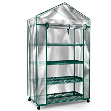 Charming Plant Greenhouse On Wheels With Clear Cover   4 Tiers Rack Stands  Indoor  Outdoor Portable