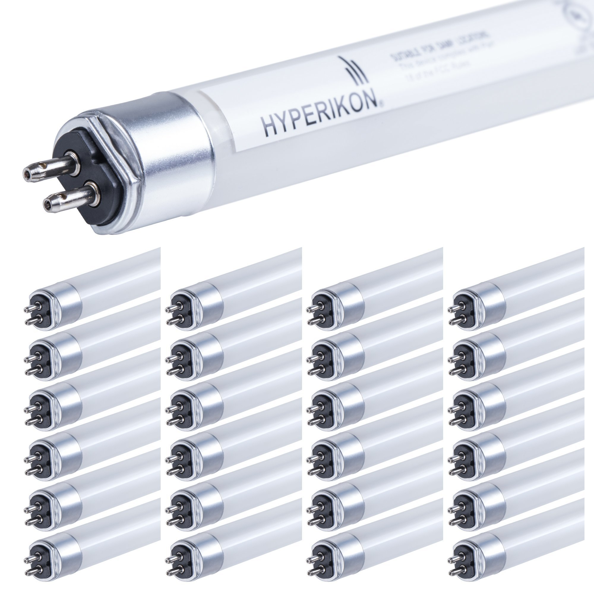 Hyperikon T5 LED Light Tube, 3.75FT, Dual-End Powered, Ballast Compatible, 25W (55W equivalent), 3500 Lumens, G5 Base, 5000K, Frosted, CRI84+, 185°, Shatterproof, Commercial, DLC & UL (Pack of 25)