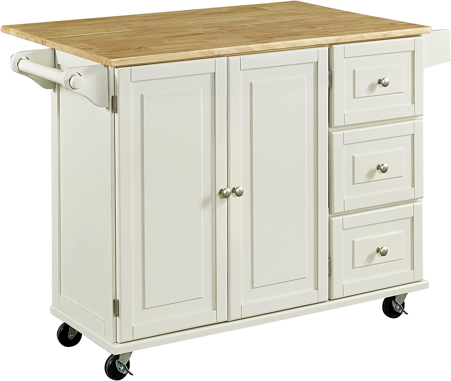 Liberty White Kitchen Utility Cart with Wood Top by Home Styles