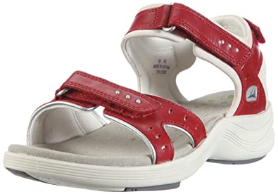 ff28fb80fce6 Clarks Wave Edge T Ty Outdoor Sandals Womens Red Rot (Cherry Leather) Size