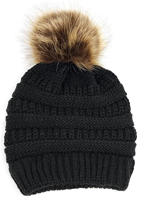 de32f59a4fa Lamdgbway Pom Pom Beanie Hat Chunky Winter Knit Hat Stretch Faux Fur Skull  Cap Black. Back. Double-tap to zoom