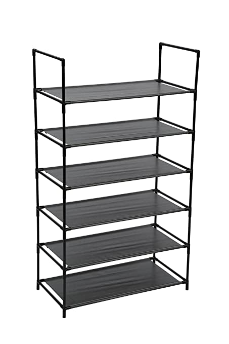 Exceptionnel Homebi 6 Tier Shoe Rack Shoe Tower Storage Organizer Unit Entryway Metal  Shoes Shelf Cabinet