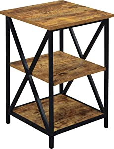 Convenience Concepts Tucson 3 Tier End Table, Barnwood / Black