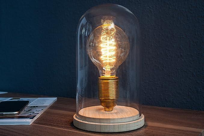 Bauhaus - Lámpara de mesa redonda de diseño madera Cristal ...