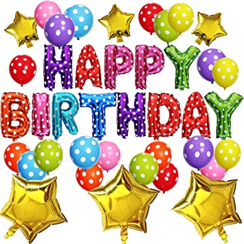 """KUNGYO Decoración de Fiesta de Cumpleaños Lindo Conjunto-Letras Tipo Balón """"Happy Birthday""""+21 Piezas Globo de Látex+6 Piezas Estrella-Brillante ..."""