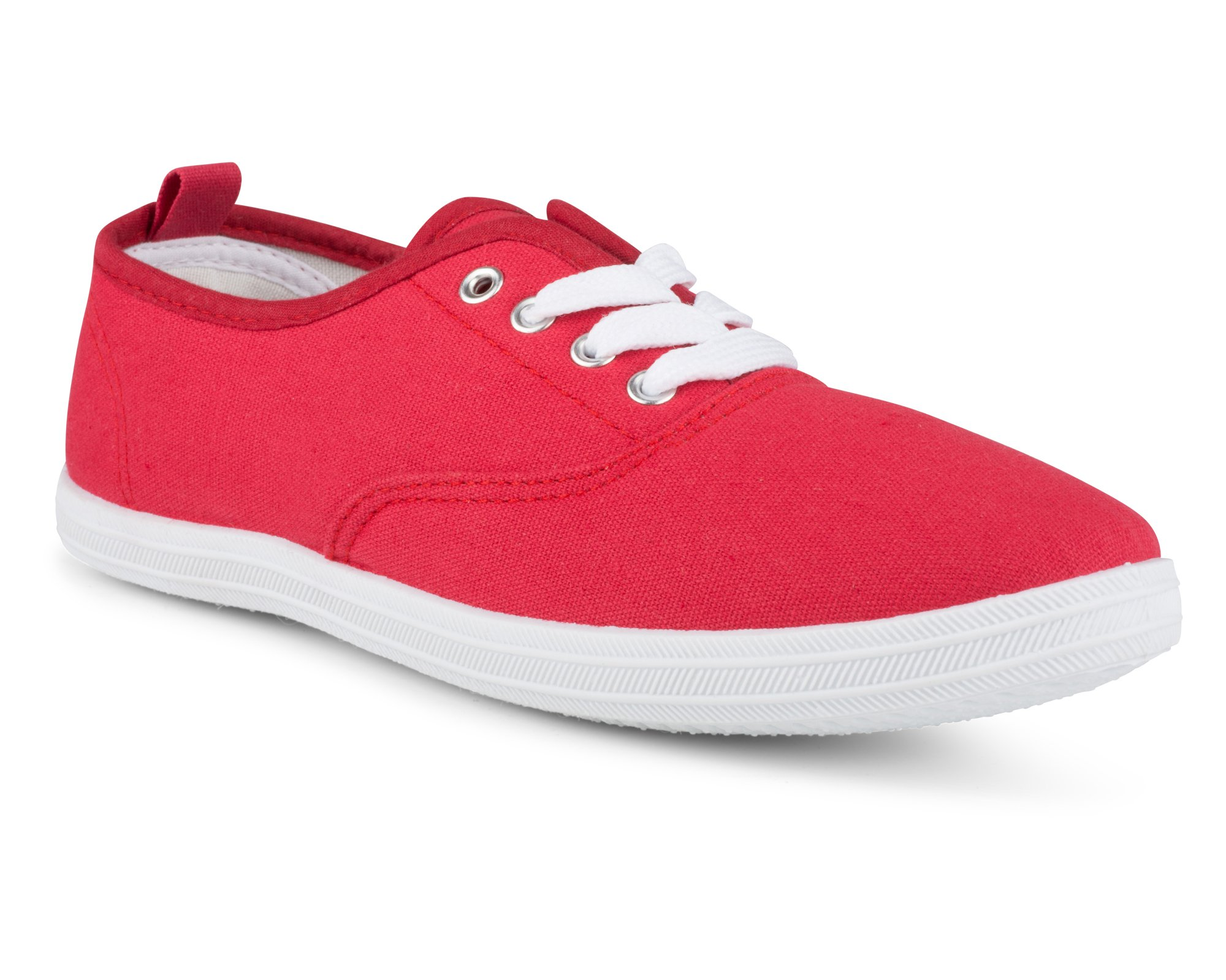 Twisted Women's Tennis Basic Athletic Lace up Sneaker - RED, Size 7