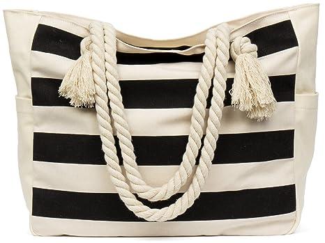 fa1475a8e1 Malirona Grande borsa da viaggio in tela di canapa da spiaggia - Borsa  perfetta per le