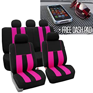 FH GROUP FH-FB036115 Striking Striped Seat Covers, Pink / Black with FH GROUP FH1002 Non-slip Dash Grip Black Pad Mat- Fit Most Car, Truck, Suv, or Van