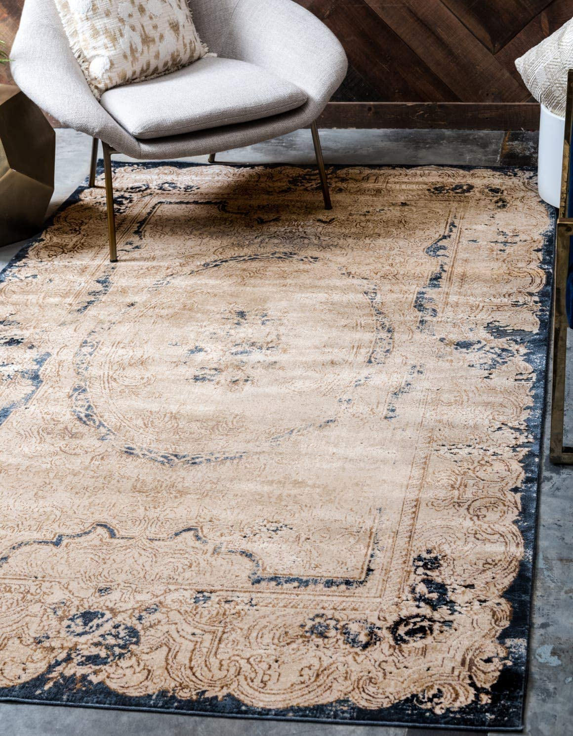 Unique Loom Chateau Collection Distressed Vintage Traditional Textured Cream Area Rug 10 0 x 14 5