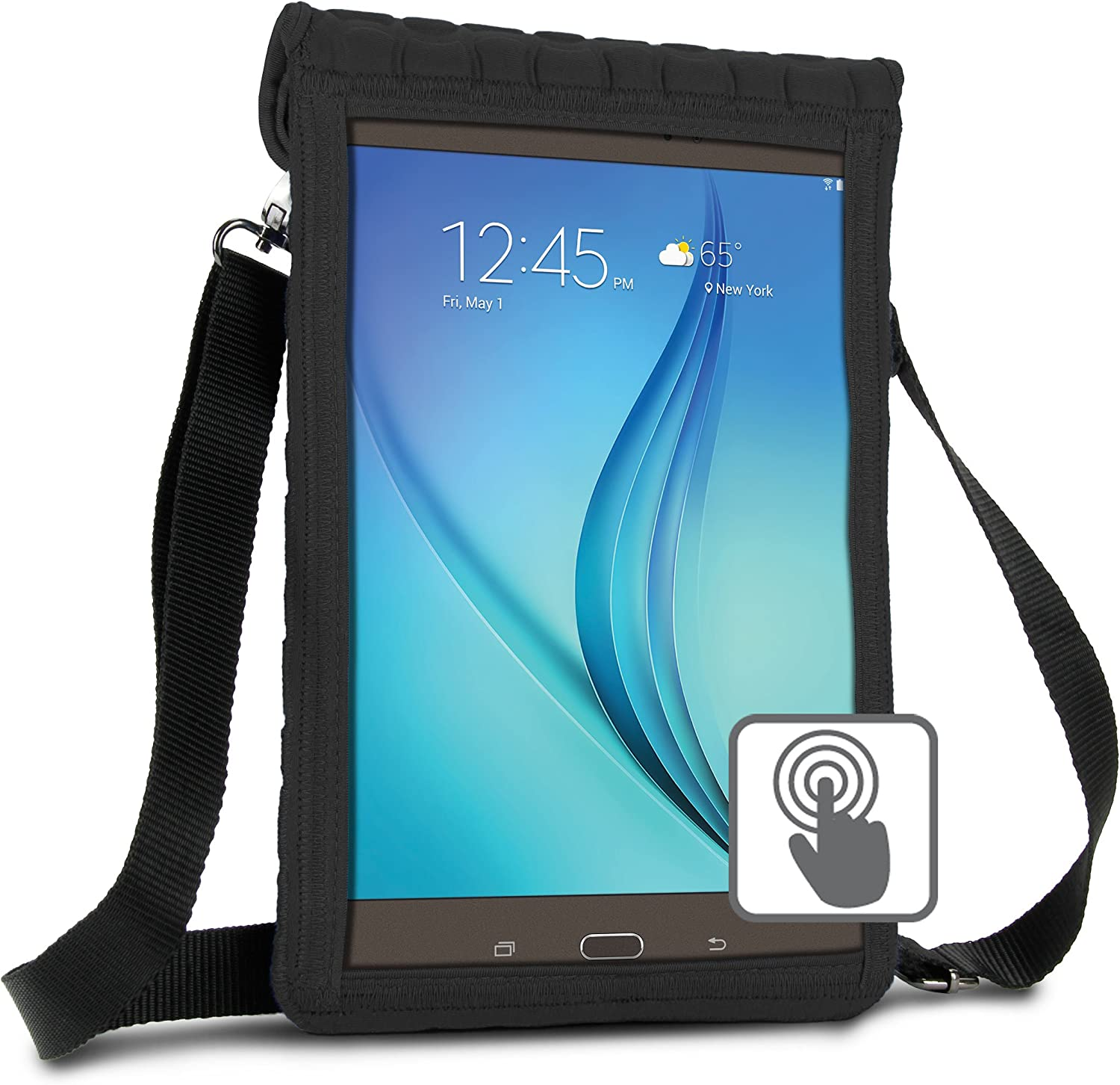 USA GEAR 10 inch Tablet Case Cover Compatible with Samsung Galaxy Tab A 10.1 and 10.5, Galaxy Tab S5e 10.5, Lenovo Tab4 10, More 10 inch Tablets - Built-in Screen Protector & Carry Strap (Black)