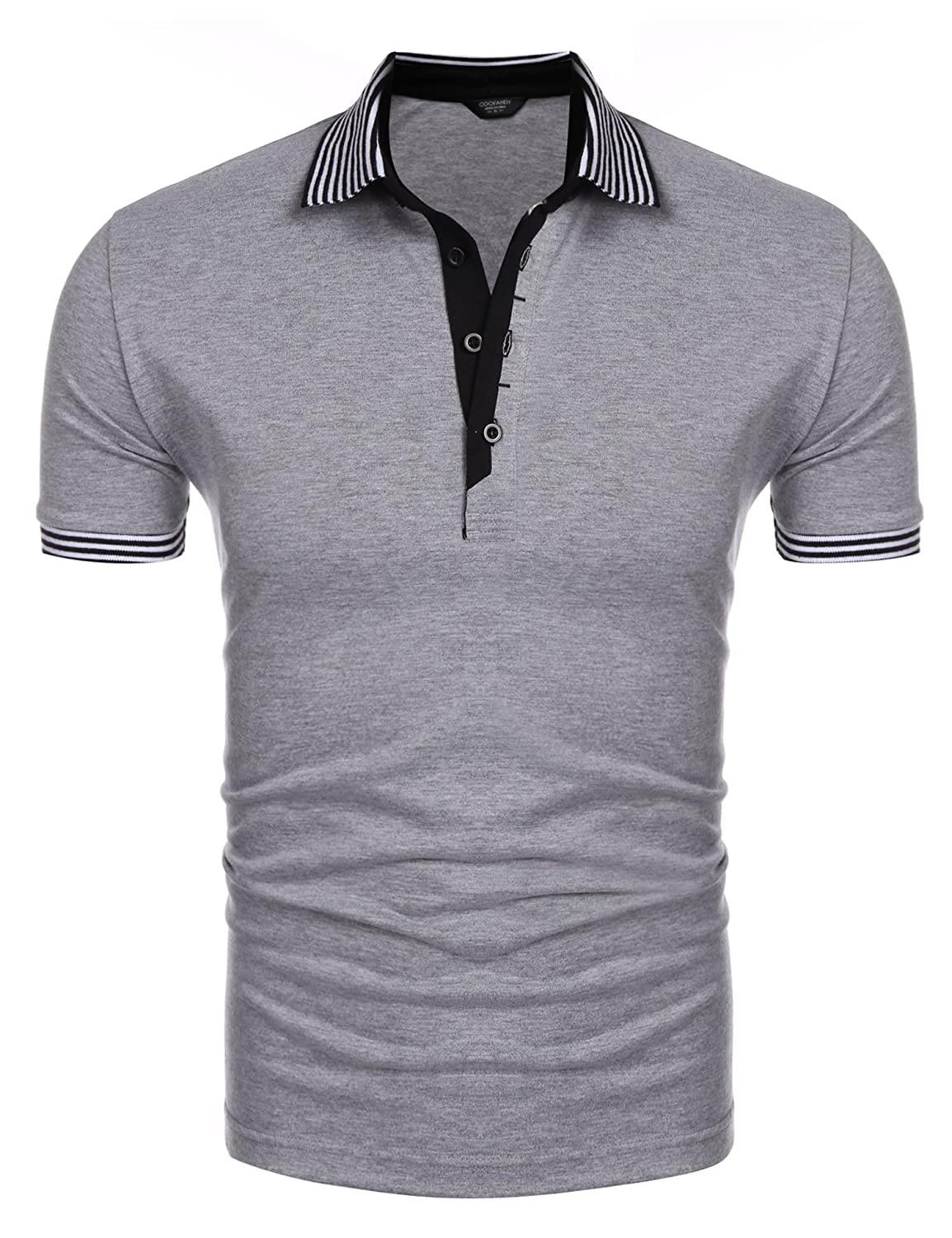 COOFANDY Men's Short Sleeve Casual Striped Collar Classic Fit Polo Shirts ETJ006279