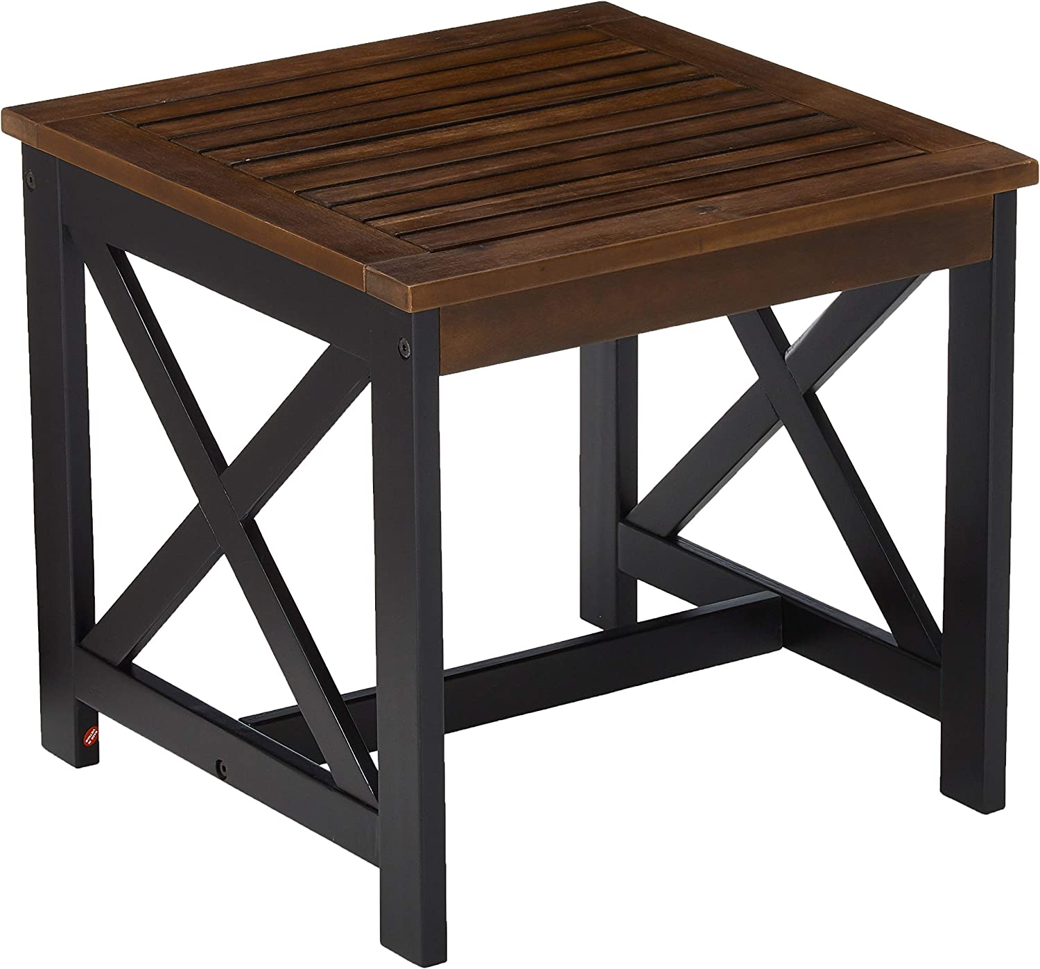 Christopher Knight Home Jean Indoor Farmhouse Acacia Wood End Table, Dark Brown Finish, Black Finish