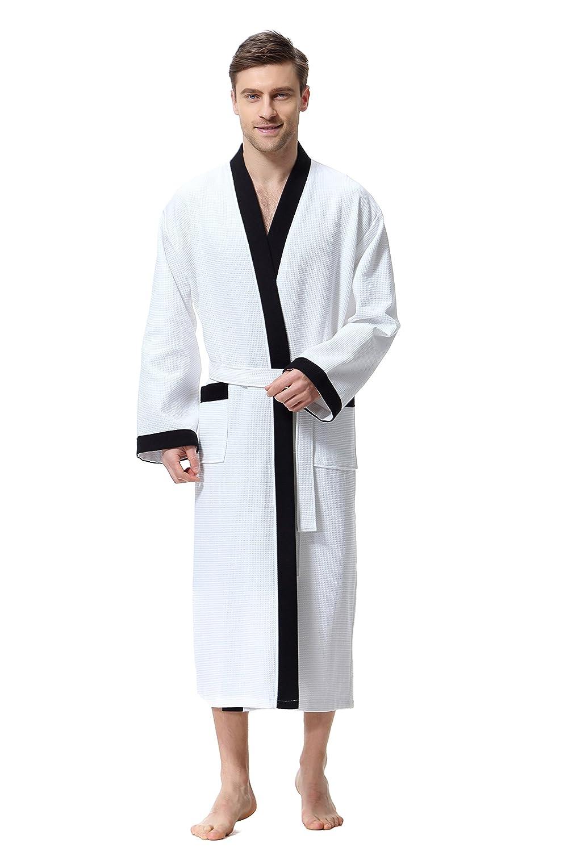 COSMOZ Waffel Pique Kimono Bathrobe Dressing Gown for Men 100% Premium Cotton