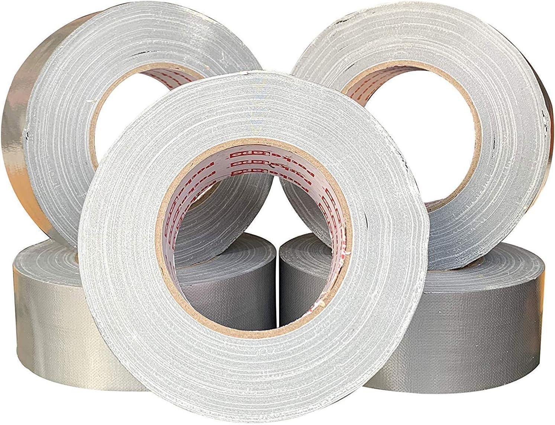 50 mm x 50 m/ètres Paquet de 5 tr/ès collant super fort Packatape Silver Ruban en toile pour conduit