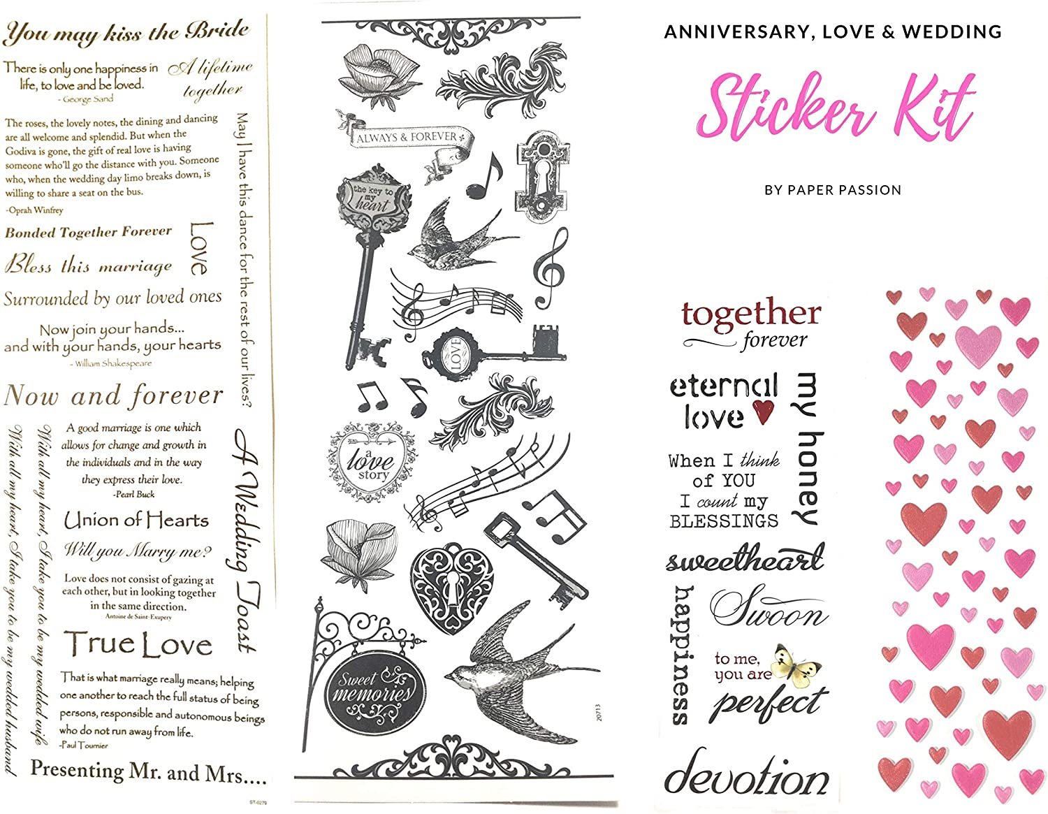 Recollections SILVER HEARTS Stickers I DO WEDDING NEW