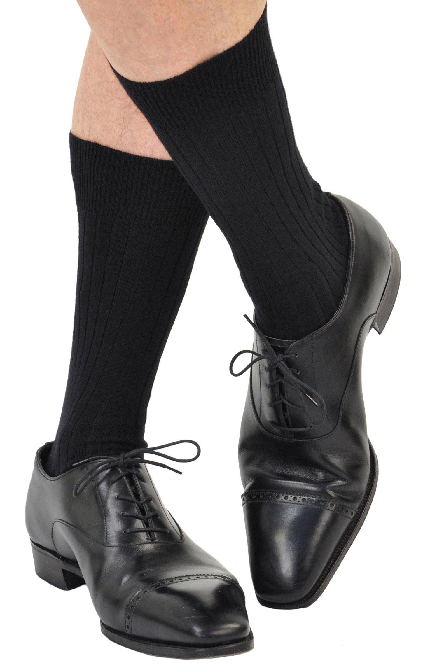 6 Pairs Men's ExtraFine Merino Marcoliani Mid-Calf Italian Dress Socks: 6 Black by Marcoliani Milano (Image #2)