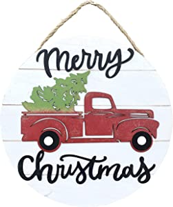 Clovers Garden Merry Christmas Sign Vintage Red Truck Wooden Farmhouse Hanging Wall or Door Décor - Rustic Country White Holiday Sign Decoration for Home or Office