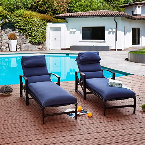 Festival Depot 2 Pieces Patio Outdoor Chaise Lounge Recliner Chairs with Cushions Set Premium Fabric Metal Frame Furniture Garden Bistro Soft Headrests Blue