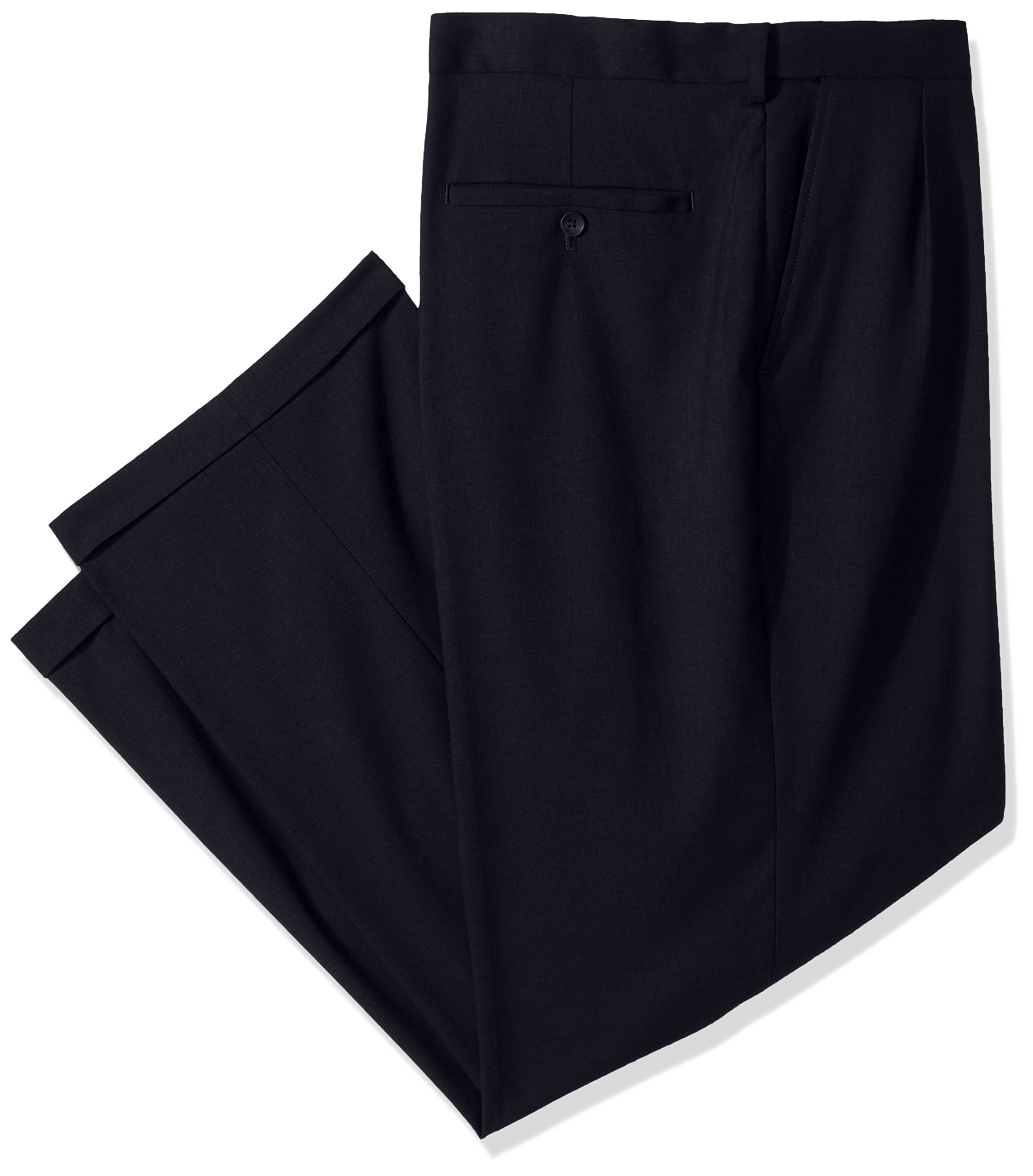 Haggar Men's Big and Tall J.m Premium Stretch Classic Fit Pleat Front Pant, Dark Navy, 46Wx30L