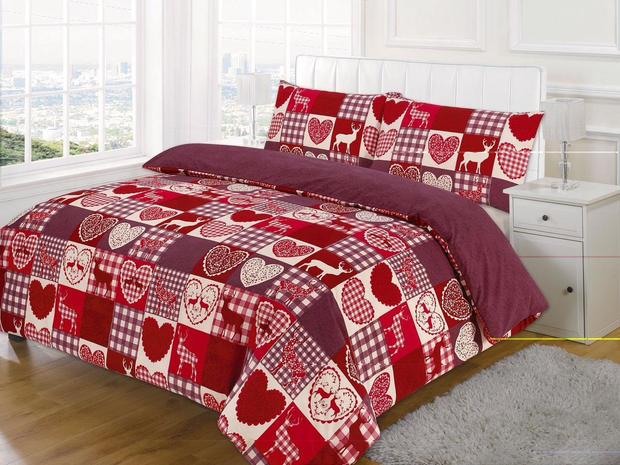 double bed new christmas patchwork duvet quilt cover bedding set amazoncouk kitchen u0026 home